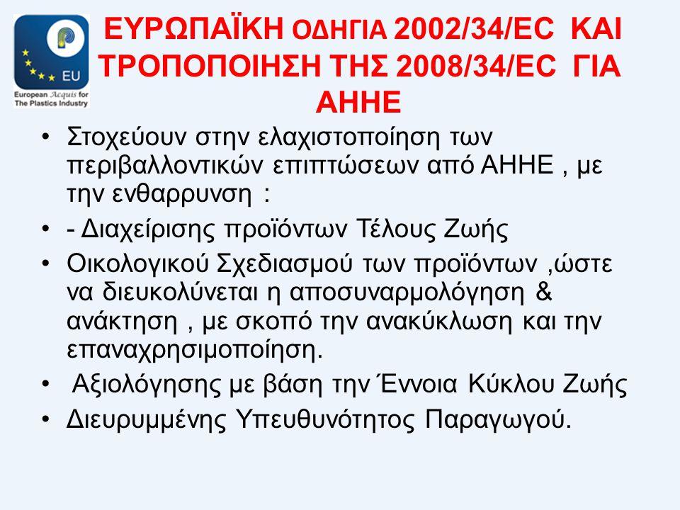 ΕΥΡΩΠΑΪΚΗ ΟΔΗΓΙΑ 2002/34/EC ΚΑΙ ΤΡΟΠΟΠΟΙΗΣΗ ΤΗΣ 2008/34/EC ΓΙΑ ΑΗΗΕ