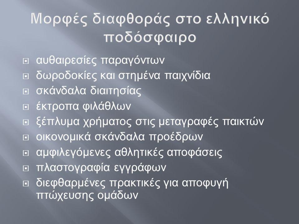 Μορφές διαφθοράς στο ελληνικό ποδόσφαιρο