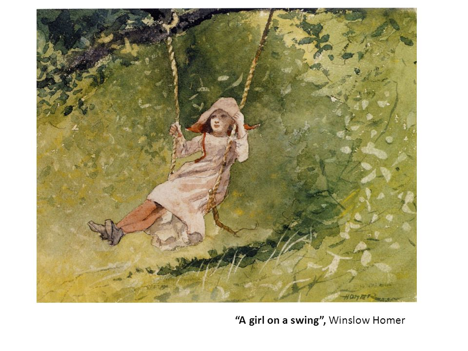 A girl on a swing , Winslow Homer