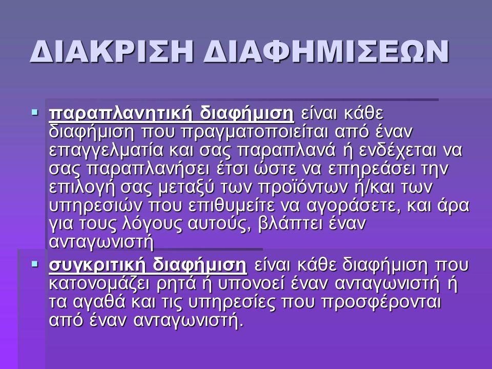 ΔΙΑΚΡΙΣΗ ΔΙΑΦΗΜΙΣΕΩΝ