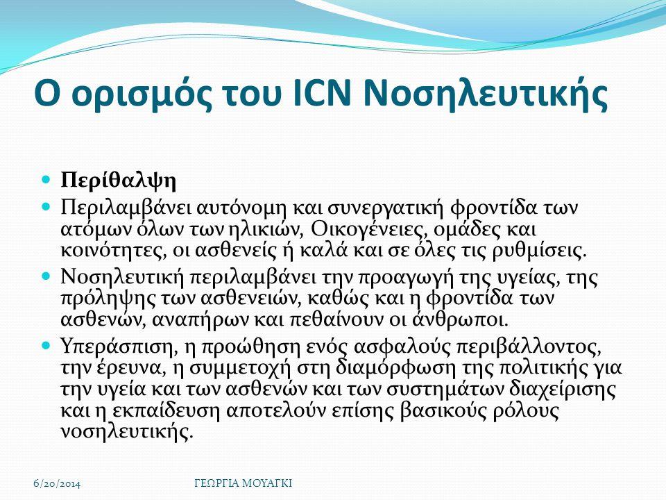 Ο ορισμός του ICN Νοσηλευτικής