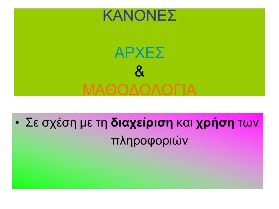 ΚΑΝΟΝΕΣ ΑΡΧΕΣ & ΜΑΘΟΔΟΛΟΓΙΑ