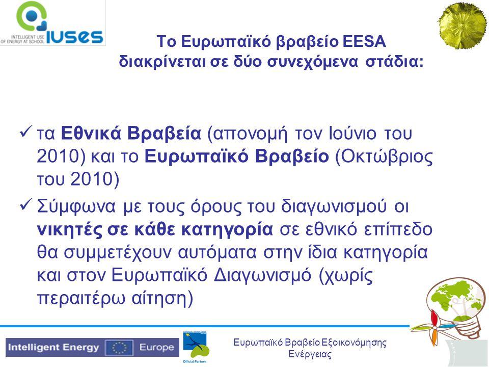 Το Ευρωπαϊκό βραβείο EESA διακρίνεται σε δύο συνεχόμενα στάδια:
