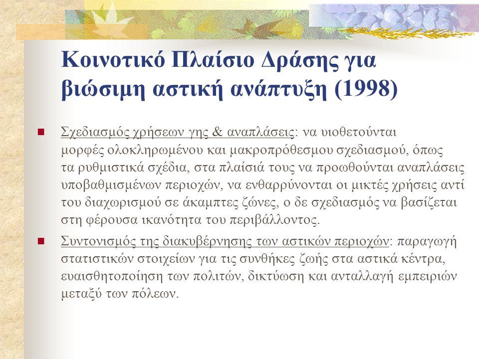 Κοινοτικό Πλαίσιο Δράσης για βιώσιμη αστική ανάπτυξη (1998)