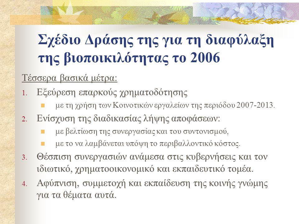 Σχέδιο Δράσης της για τη διαφύλαξη της βιοποικιλότητας το 2006