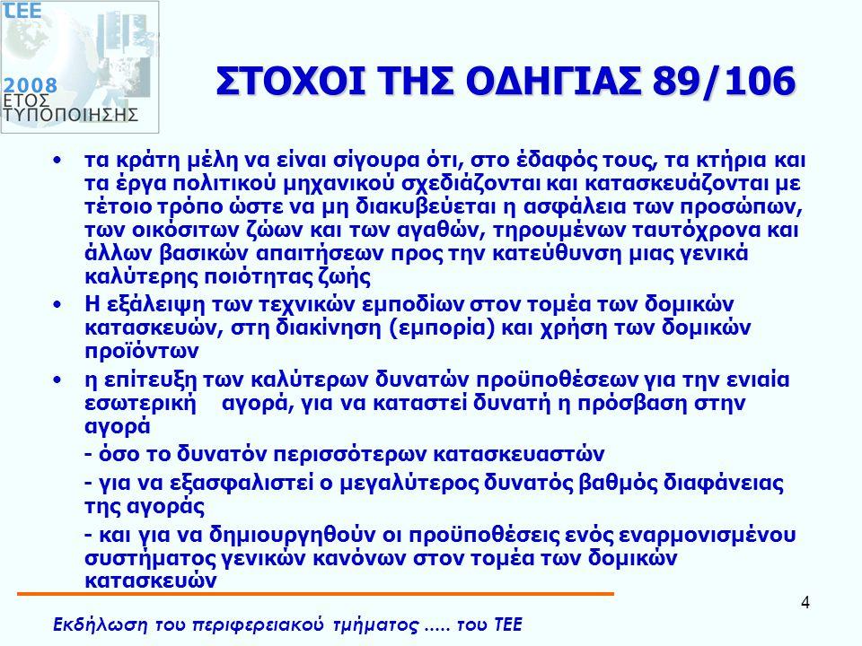 ΣΤΟΧΟΙ ΤΗΣ ΟΔΗΓΙΑΣ 89/106