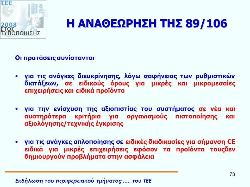 Η ΑΝΑΘΕΩΡΗΣΗ ΤΗΣ 89/106 Οι προτάσεις συνίστανται