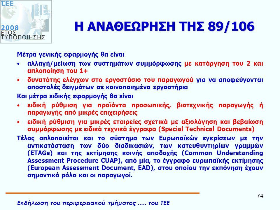 Η ΑΝΑΘΕΩΡΗΣΗ ΤΗΣ 89/106 Mέτρα γενικής εφαρμογής θα είναι