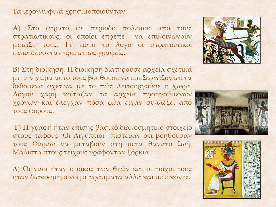 Τα ιερογλυφικά χρησιμοποιούνταν: