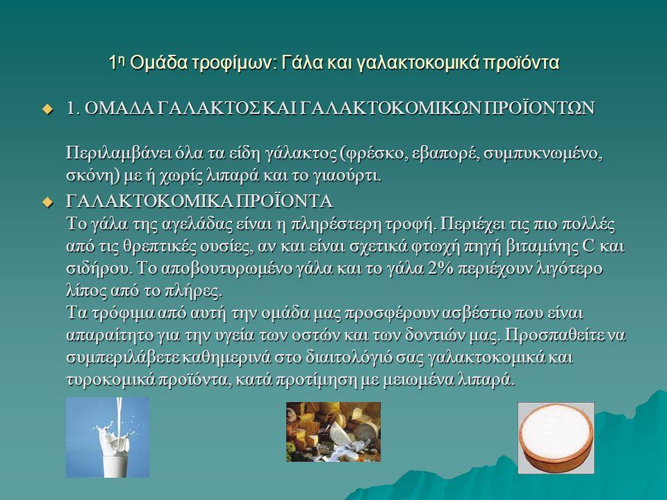 1η Ομάδα τροφίμων: Γάλα και γαλακτοκομικά προϊόντα