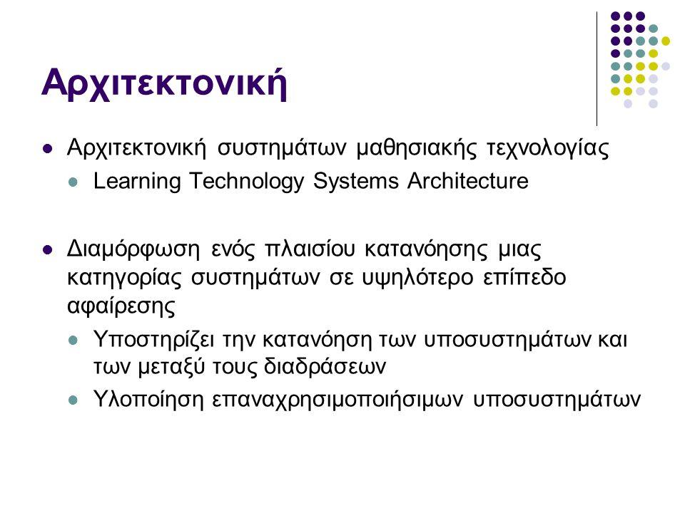 Αρχιτεκτονική Αρχιτεκτονική συστημάτων μαθησιακής τεχνολογίας