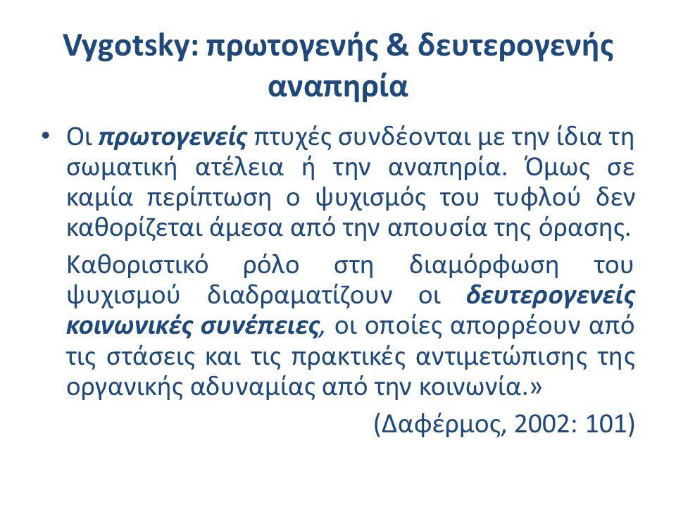 Vygotsky: πρωτογενής & δευτερογενής αναπηρία