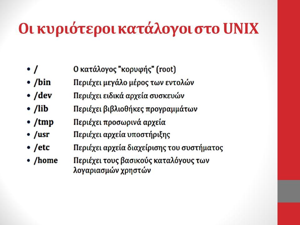 Οι κυριότεροι κατάλογοι στο UNIX