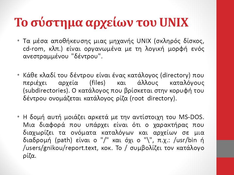 Το σύστημα αρχείων του UNIX