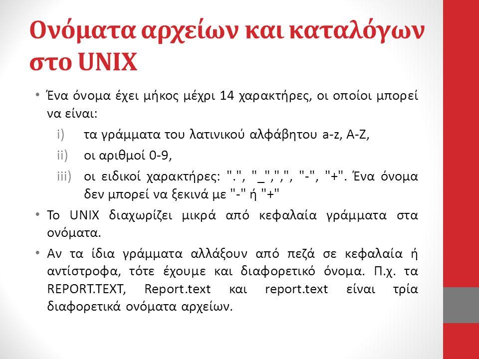 Ονόματα αρχείων και καταλόγων στο UNIX