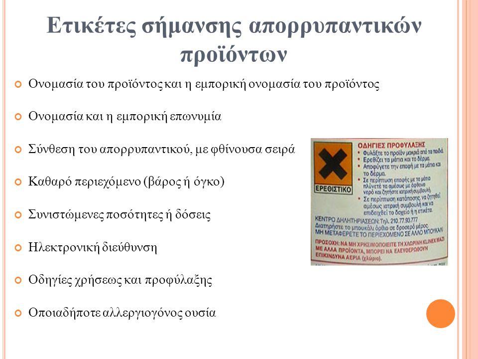 Ετικέτες σήμανσης απορρυπαντικών προϊόντων
