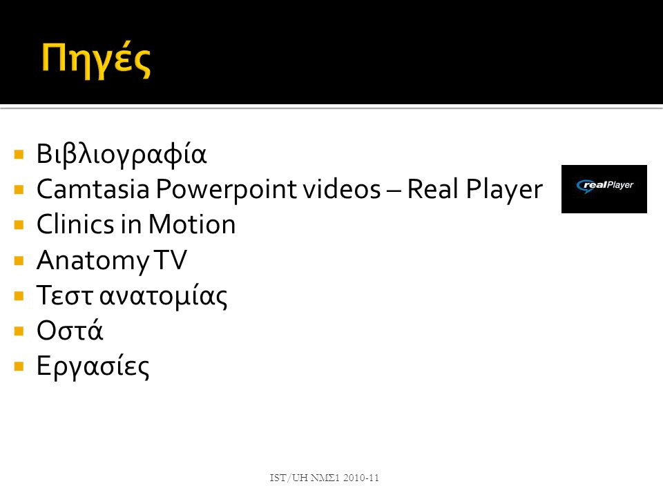 Πηγές Βιβλιογραφία Camtasia Powerpoint videos – Real Player