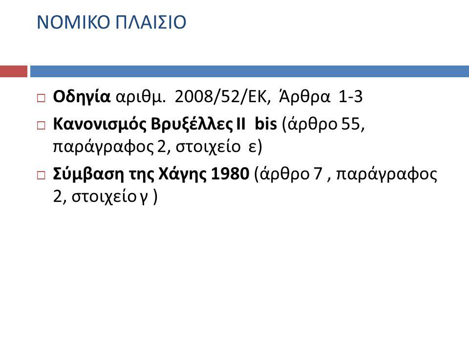 ΝΟΜΙΚΟ ΠΛΑΙΣΙΟ Οδηγία αριθμ. 2008/52/ΕΚ, Άρθρα 1-3