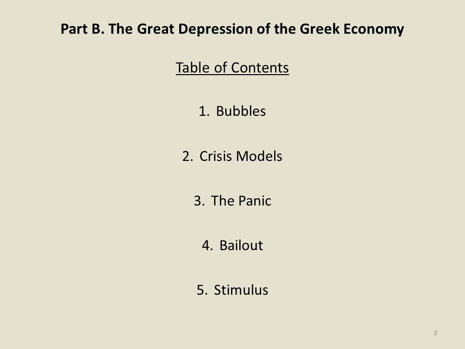 Part B. The Great Depression of the Greek Economy Table of Contents