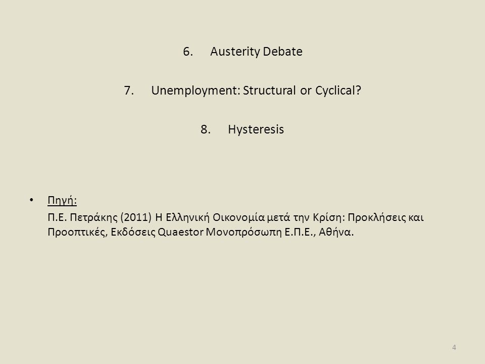 Unemployment: Structural or Cyclical