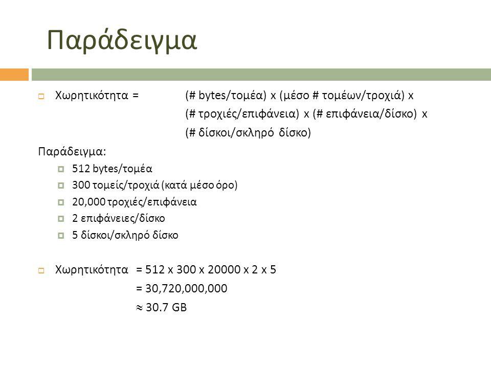 Παράδειγμα Χωρητικότητα = (# bytes/τομέα) x (μέσο # τομέων/τροχιά) x