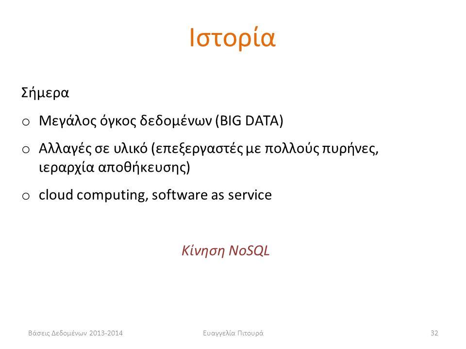 Ιστορία Σήμερα Μεγάλος όγκος δεδομένων (BIG DATA)
