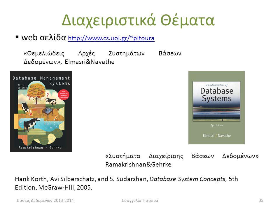 Διαχειριστικά Θέματα web σελίδα http://www.cs.uoi.gr/~pitoura