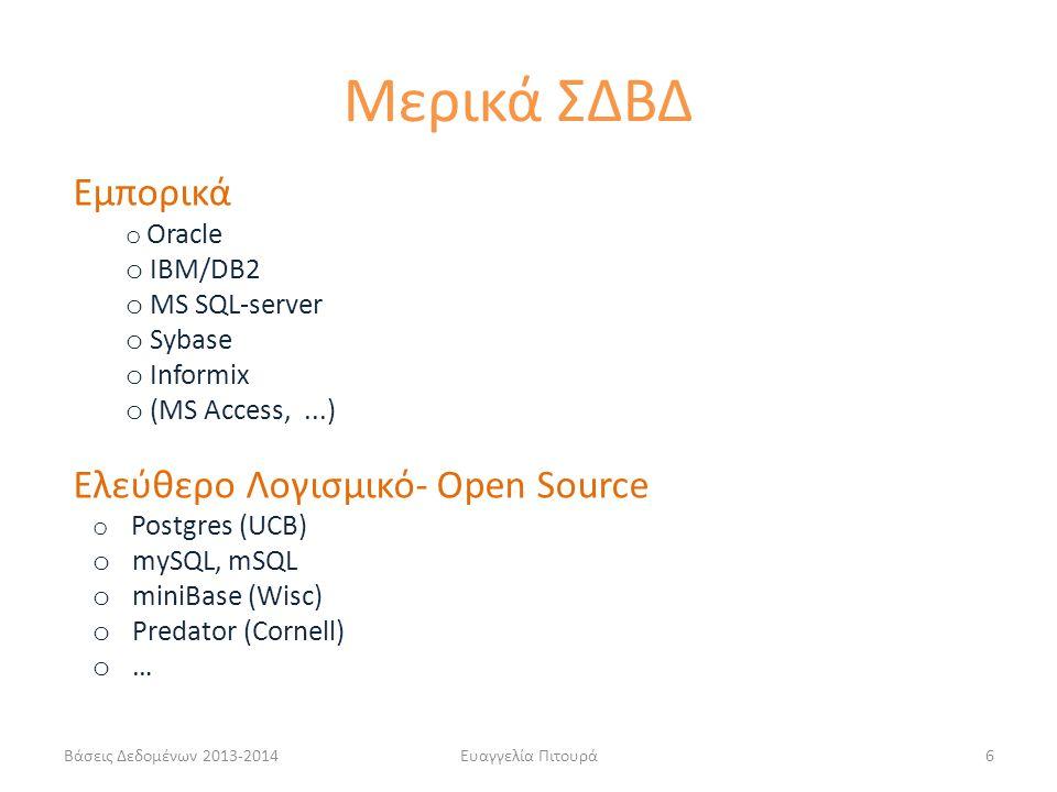 Μερικά ΣΔΒΔ Εμπορικά Ελεύθερο Λογισμικό- Open Source IBM/DB2