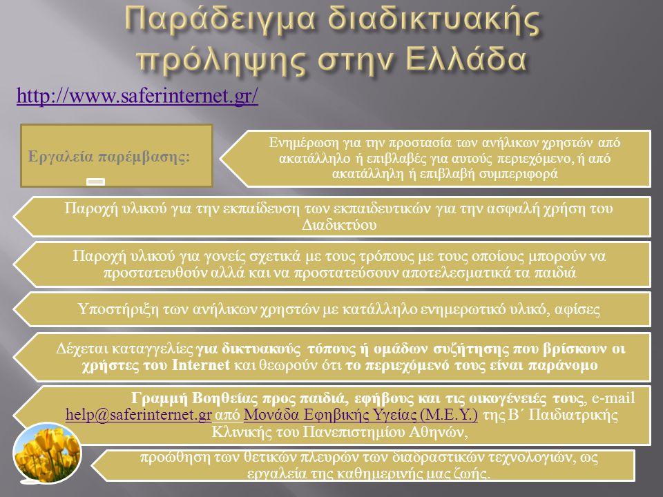 Παράδειγμα διαδικτυακής πρόληψης στην Ελλάδα