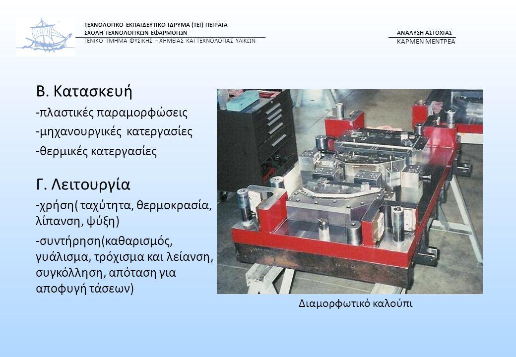 Β. Κατασκευή Γ. Λειτουργία -πλαστικές παραμορφώσεις
