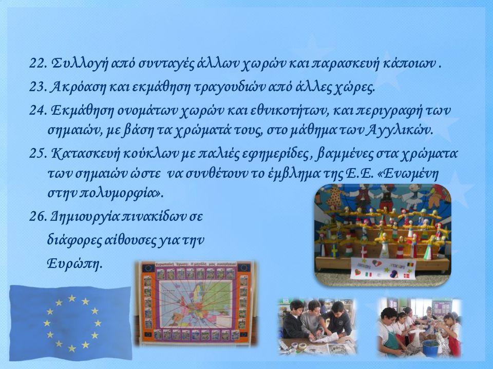 22. Συλλογή από συνταγές άλλων χωρών και παρασκευή κάποιων .