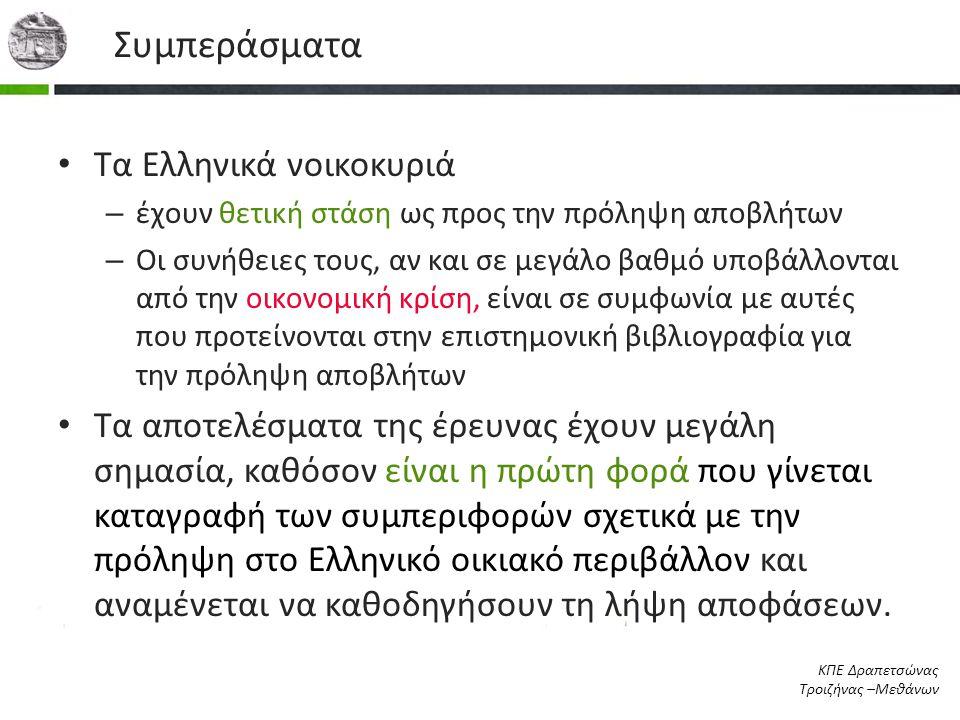 Συμπεράσματα Τα Ελληνικά νοικοκυριά
