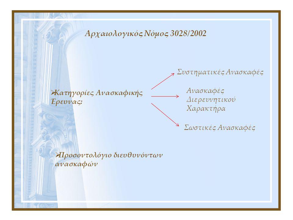 Αρχαιολογικός Νόμος 3028/2002 Συστηματικές Ανασκαφές