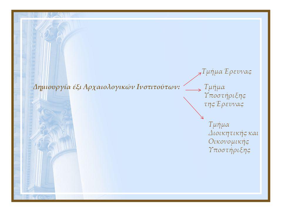 Τμήμα Έρευνας Δημιουργία έξι Αρχαιολογικών Ινστιτούτων: Τμήμα Υποστήριξης της Έρευνας.