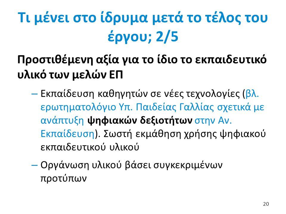 Τι μένει στο ίδρυμα μετά το τέλος του έργου; 2/5