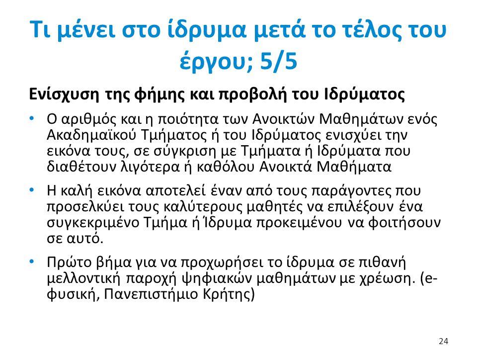 Τι μένει στο ίδρυμα μετά το τέλος του έργου; 5/5