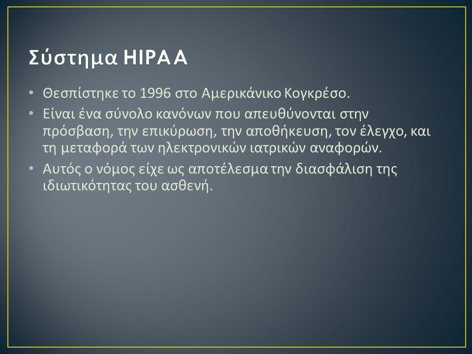 Σύστημα HIPAA Θεσπίστηκε το 1996 στο Αμερικάνικο Κογκρέσο.