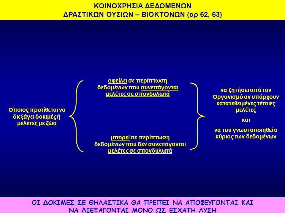 KOINOXΡΗΣΙΑ ΔΕΔΟΜΕΝΩΝ ΔΡΑΣΤΙΚΩΝ ΟΥΣΙΩΝ – ΒΙΟΚΤΟΝΩΝ (αρ 62, 63)