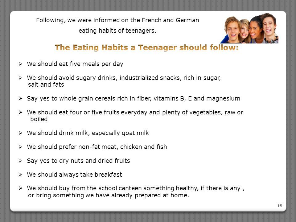 The Eating Habits a Teenager should follow: