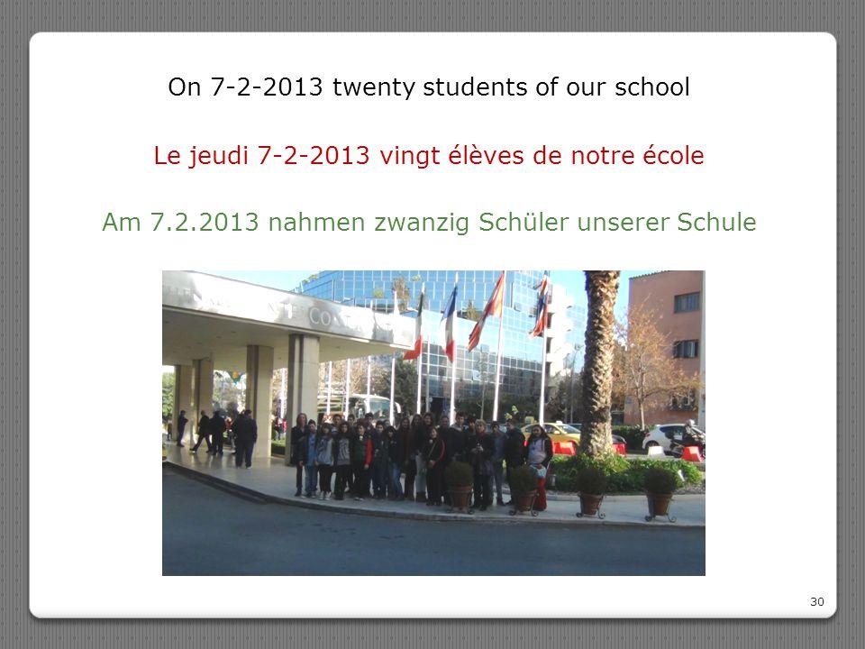 Le jeudi 7-2-2013 vingt élèves de notre école