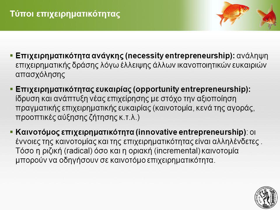 Τύποι επιχειρηματικότητας