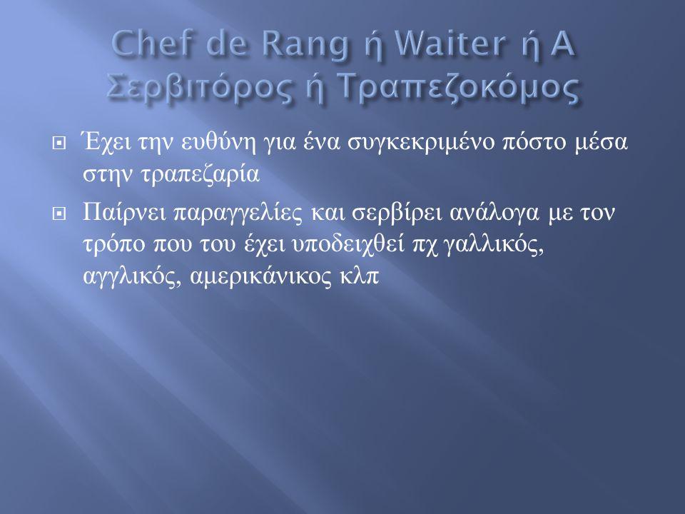 Chef de Rang ή Waiter ή Α Σερβιτόρος ή Τραπεζοκόμος