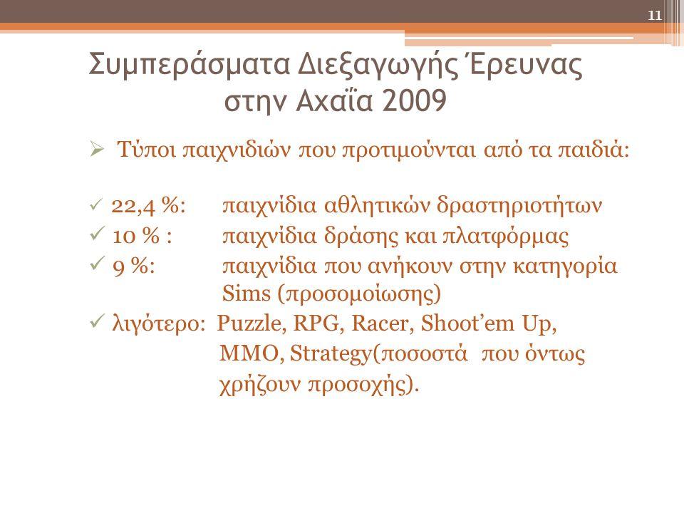 Συμπεράσματα Διεξαγωγής Έρευνας στην Αχαΐα 2009