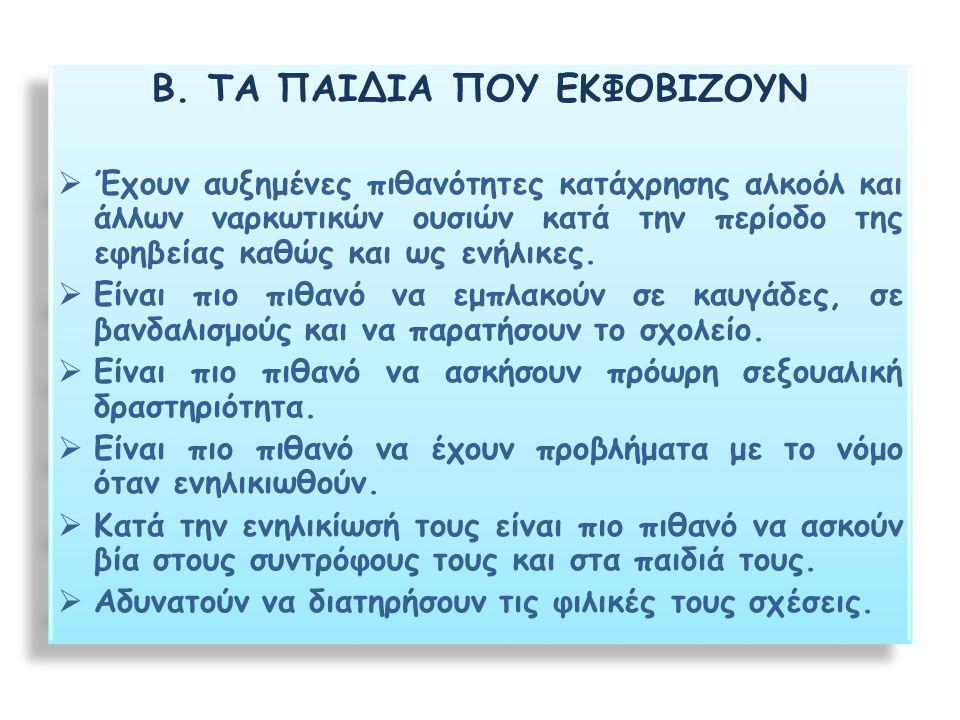 Β. ΤΑ ΠΑΙΔΙΑ ΠΟΥ ΕΚΦΟΒΙΖΟΥΝ