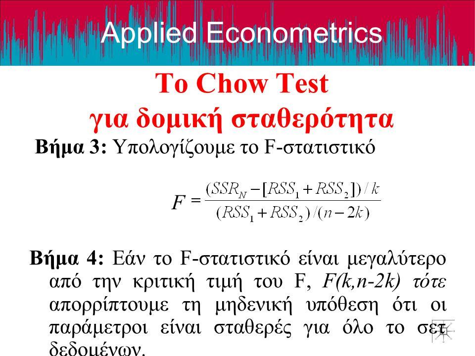 Το Chow Test για δομική σταθερότητα