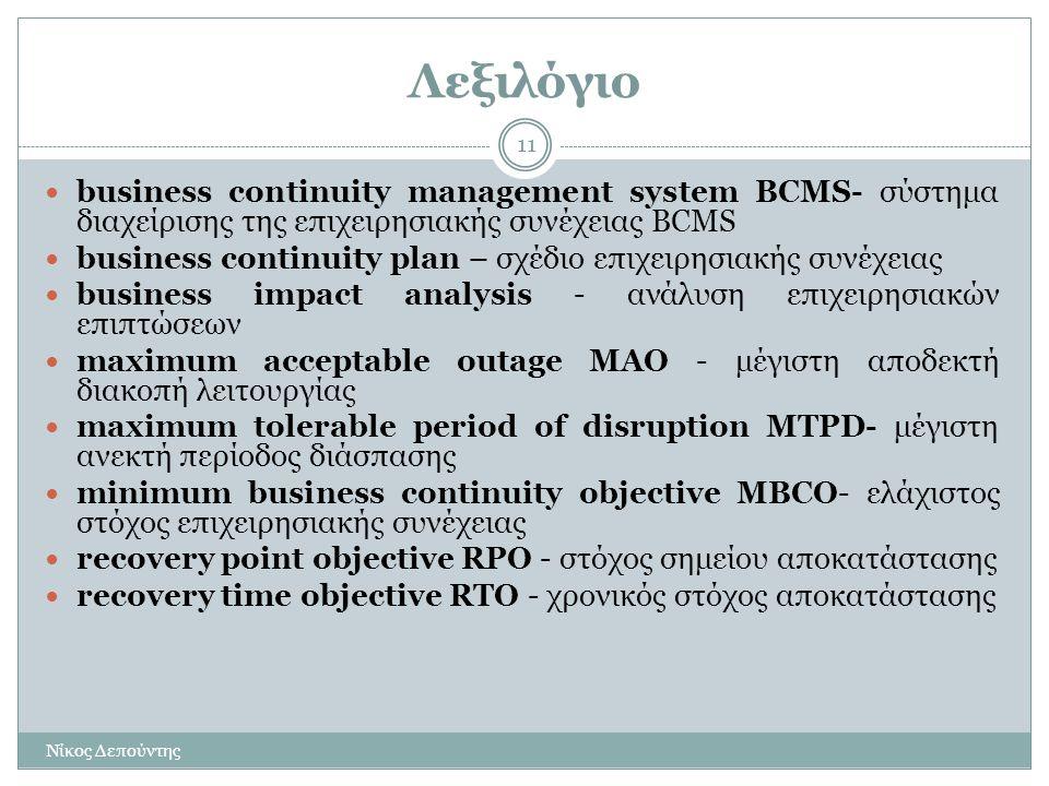 Λεξιλόγιο business continuity management system BCMS- σύστημα διαχείρισης της επιχειρησιακής συνέχειας BCMS.