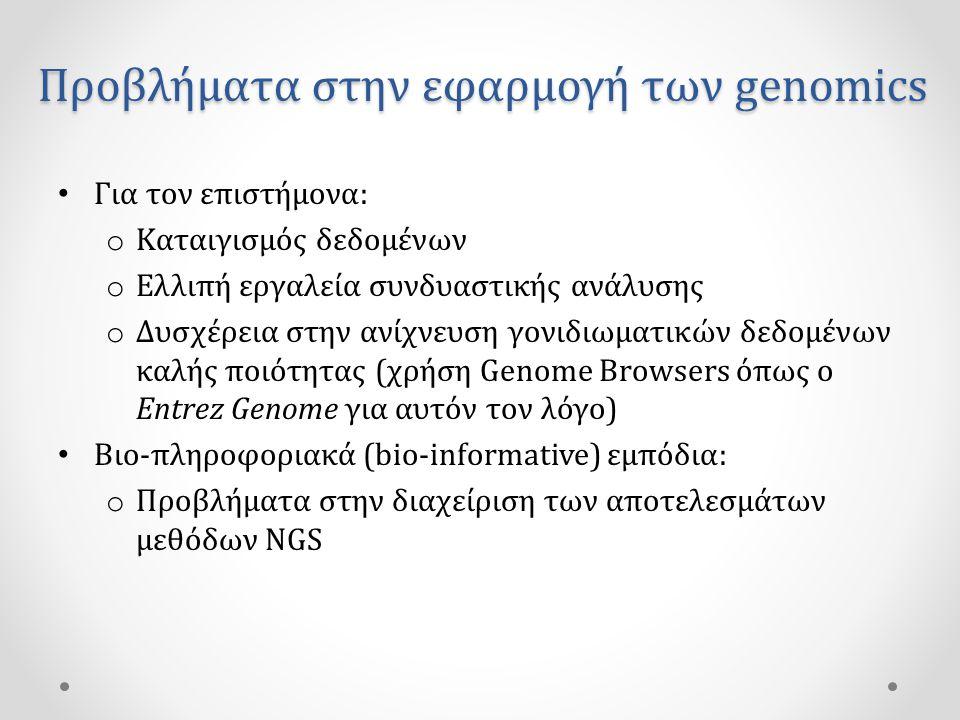 Προβλήματα στην εφαρμογή των genomics