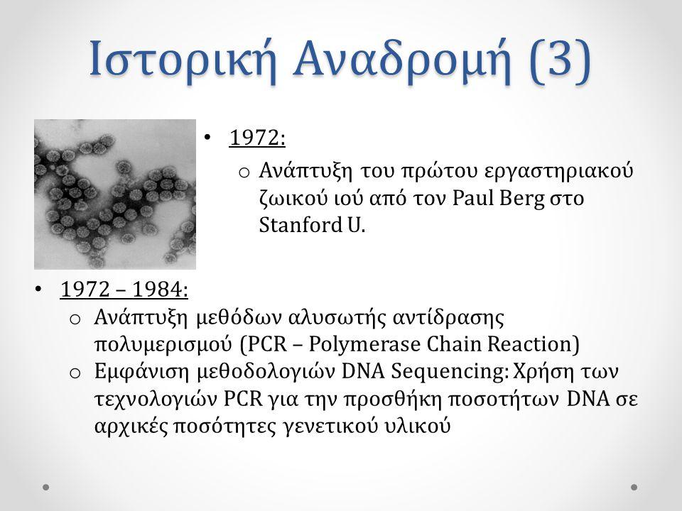 Ιστορική Αναδρομή (3) 1972: Ανάπτυξη του πρώτου εργαστηριακού ζωικού ιού από τον Paul Berg στο Stanford U.