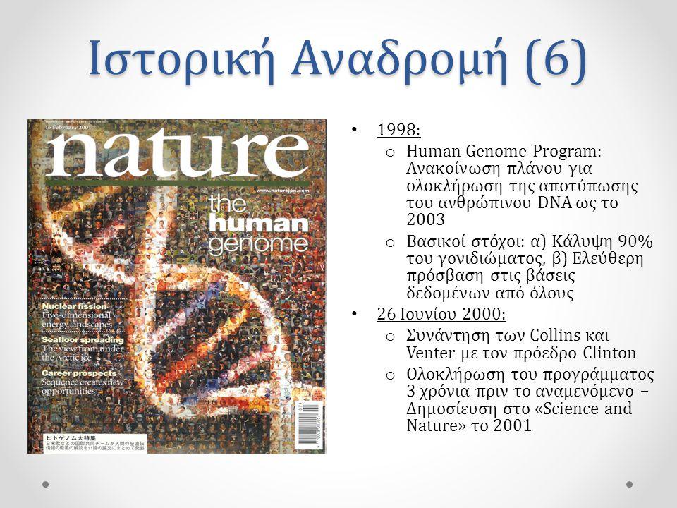Ιστορική Αναδρομή (6) 1998: Human Genome Program: Ανακοίνωση πλάνου για ολοκλήρωση της αποτύπωσης του ανθρώπινου DNA ως το 2003.