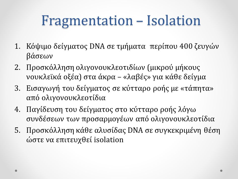 Fragmentation – Isolation
